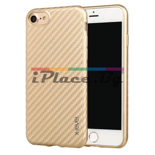 Кожен, златист калъф - карбонов десен, ултра тънък за iPhone 7/iPhone 8
