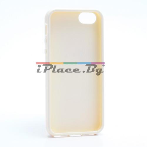 Силиконов, жълт калъф - фигури за iPhone 5/5S/SE