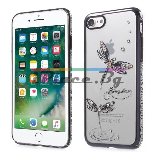Пластмасов, черен (jet black) бъмпер, с прозрачен гръб - ултра тънък, със Swarovski кристали за iPhone 7/iPhone 8