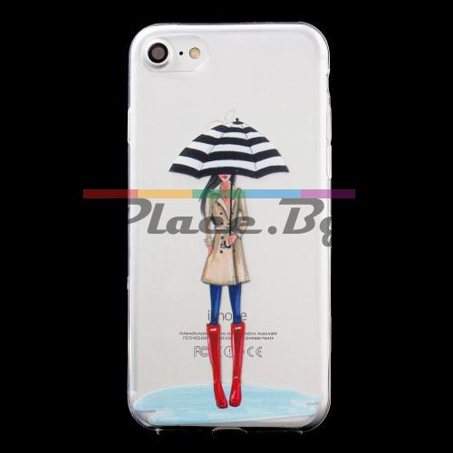 Силиконов, прозрачен калъф - момиче с чадър, ултра тънък за iPhone 7/iPhone 8