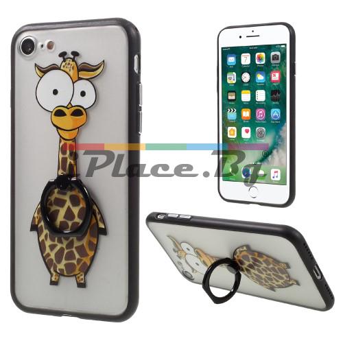 Силиконов, прозрачен калъф - жираф за iPhone 7/iPhone 8