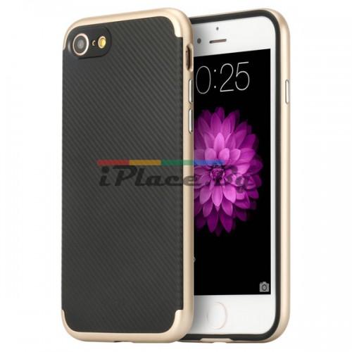 Пластмасов, златист бъмпер - карбонов десен, силиконов гръб за iPhone 7/iPhone 8