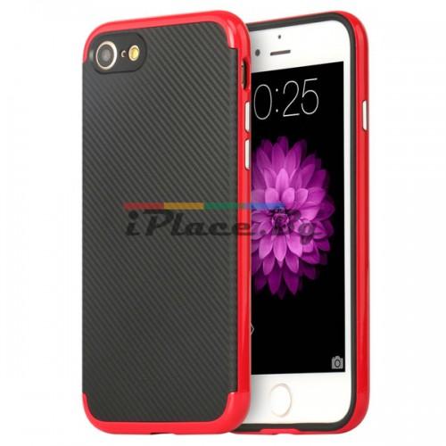Пластмасов, червен бъмпер - карбонов десен, силиконов гръб за iPhone 7/iPhone 8