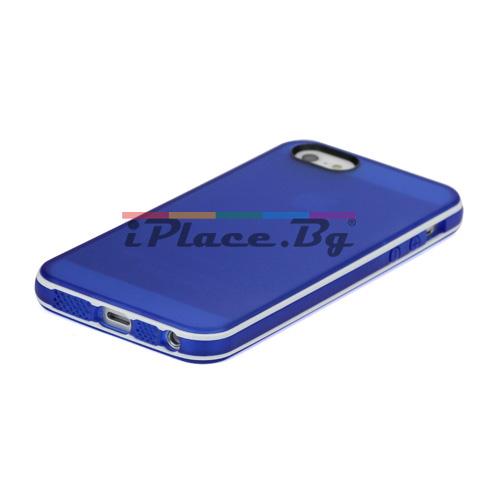Силиконов, син калъф - прозрачен за iPhone 5/5S/SE