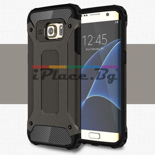 Силиконов, тъмносив калъф - удароустойчив за Samsung Galaxy S7 Edge