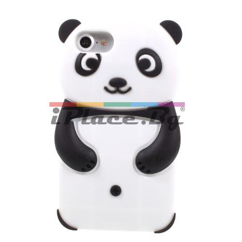 Силиконов, бял калъф - панда за iPhone 7/iPhone 8