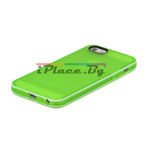 Силиконов, зелен калъф - прозрачен за iPhone 5/5S/SE