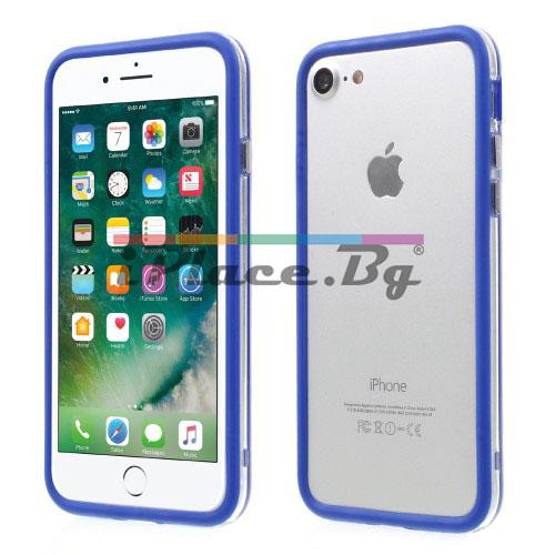 Пластмасов, син бъмпер - силиконов кант за iPhone 7/iPhone 8