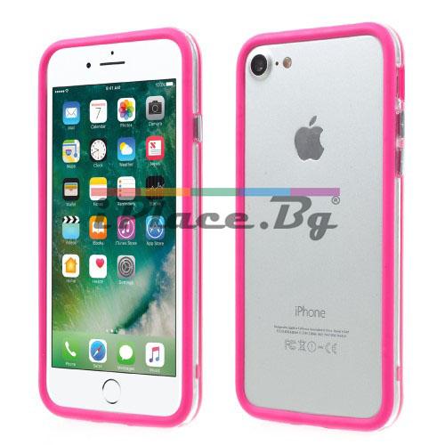 Пластмасов, розов бъмпер - силиконов кант за iPhone 7/iPhone 8