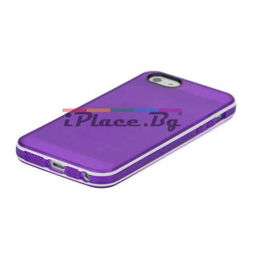 Силиконов, лилав калъф - прозрачен за iPhone 5/5S/SE