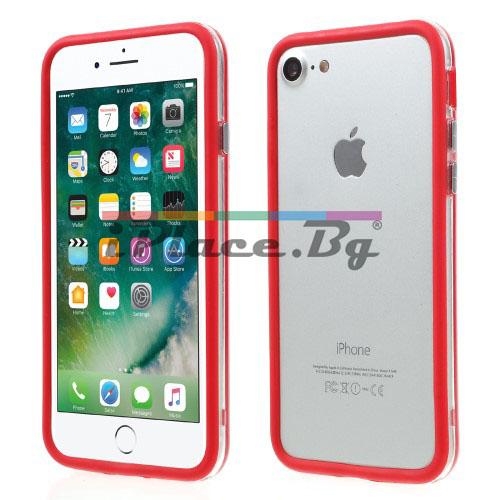 Пластмасов, червен бъмпер - силиконов кант за iPhone 7/iPhone 8