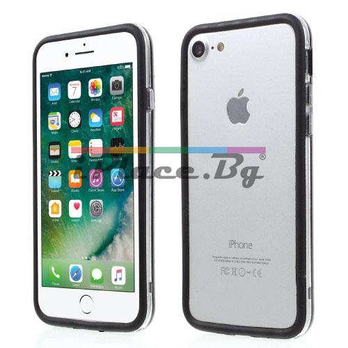 Пластмасов, черен бъмпер - силиконов кант за iPhone 7/iPhone 8