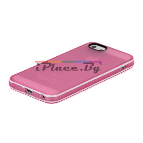 Силиконов, розов калъф - прозрачен за iPhone 5/5S/SE