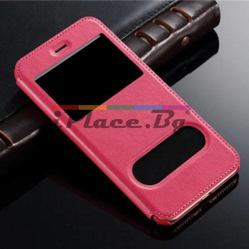 Кожен, розов калъф - отвори за iPhone 7 Plus/iPhone 8 Plus