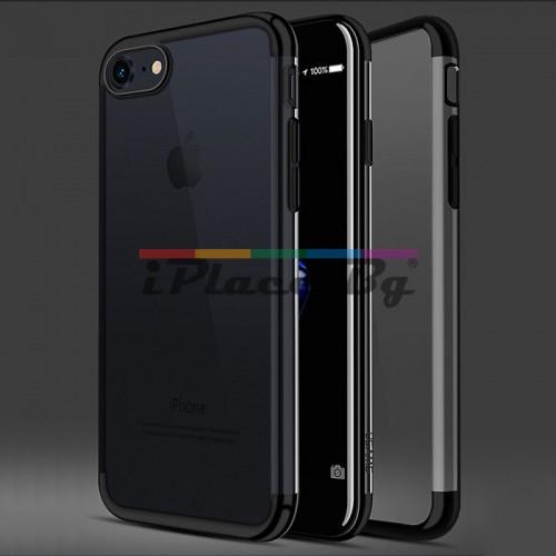 Силиконов, черен (jet black) бъмпер, с прозрачен гръб - ултра тънък за iPhone 7/iPhone 8