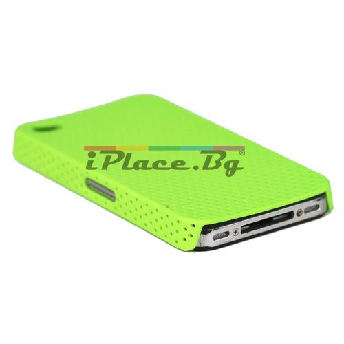 Пластмасов, зелен панел - перфориран за iPhone 4/4S