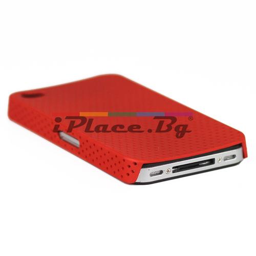 Пластмасов, червен панел - перфориран за iPhone 4/4S