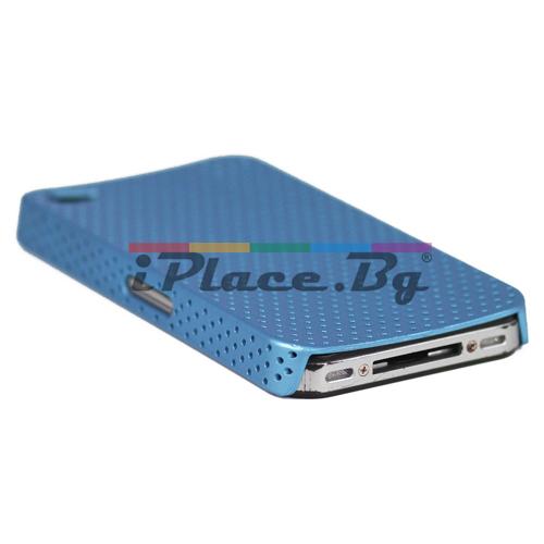Пластмасов, син панел - перфориран за iPhone 4/4S