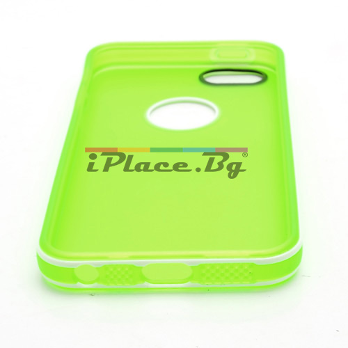 Силиконов, зелен калъф - прозрачен с отвор за iPhone 5/5S/SE