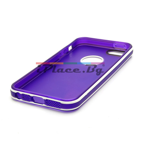 Силиконов, лилав калъф - прозрачен с отвор за iPhone 5/5S/SE