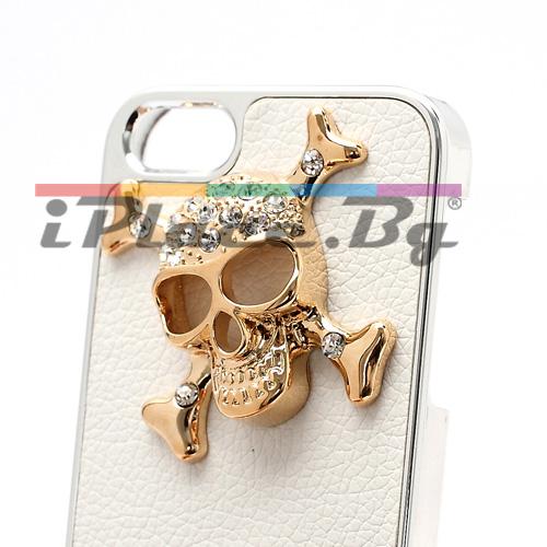 Пластмасов, бял панел - черепи за iPhone 5/5S/SE