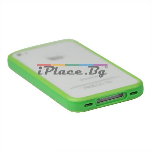 Пластмасов, зелен бъмпер за iPhone 4/4S