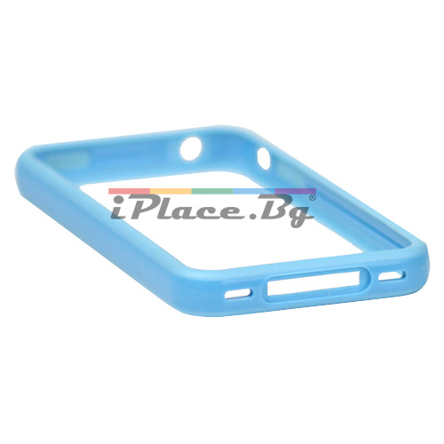 Пластмасов, син бъмпер за iPhone 4/4S