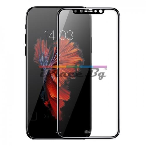 Стъклен, защитен екран за дисплей - черен, извит за iPhone X/XS/11 Pro