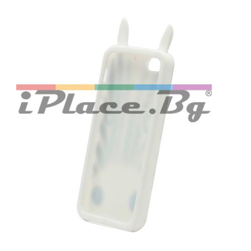 Силиконов, бял калъф - зебра за iPhone 5/5S/SE
