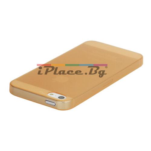 Пластмасов, оранжев панел - ултра тънък за iPhone 5/5S/SE