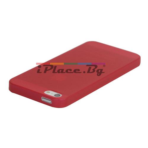 Пластмасов, червен панел - ултра тънък за iPhone 5/5S/SE