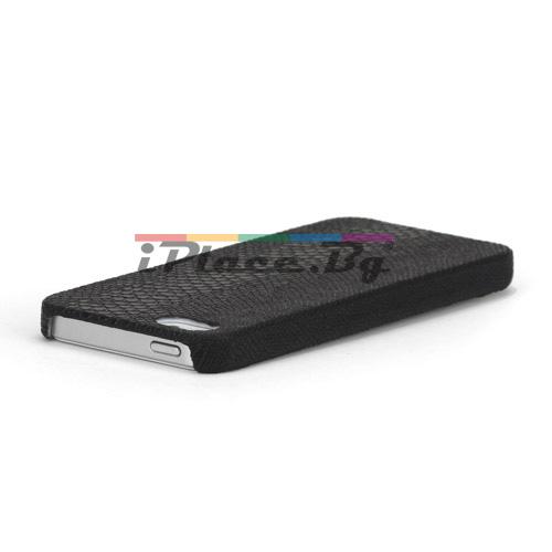 Кожен, черен панел - змийска кожа за iPhone 5/5S/SE