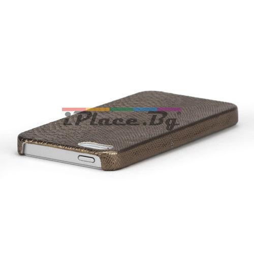 Кожен, кафяв панел - змийска кожа за iPhone 5/5S/SE