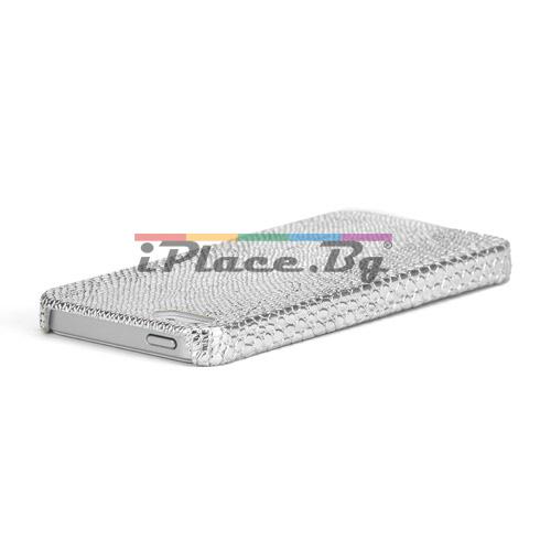 Кожен, сребрист панел - змийска кожа за iPhone 5/5S/SE