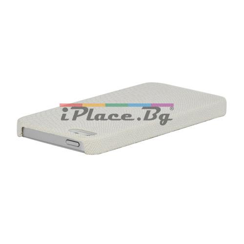 Кожен, бял панел - змийска кожа за iPhone 5/5S/SE