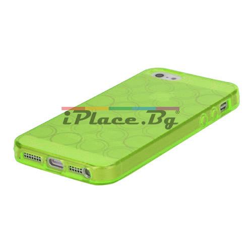 Силиконов, зелен калъф - окръжности за iPhone 5/5S/SE
