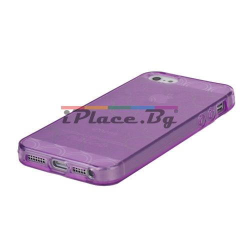 Силиконов, лилав калъф - окръжности за iPhone 5/5S/SE