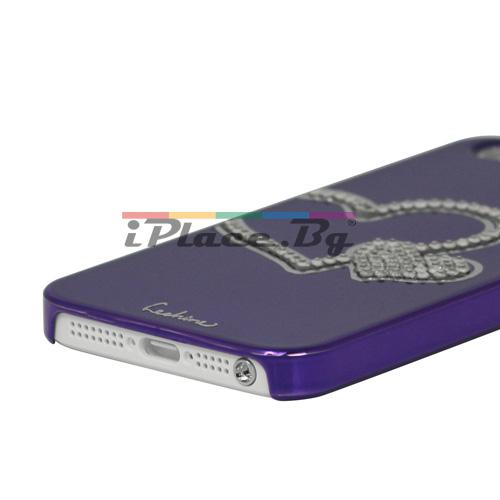 Пластмасов, лилав панел - сърце за iPhone 5/5S/SE