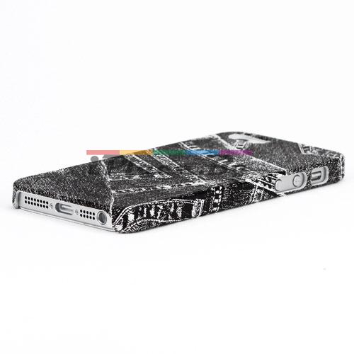 Пластмасов, черен панел - дънки за iPhone 5/5S/SE