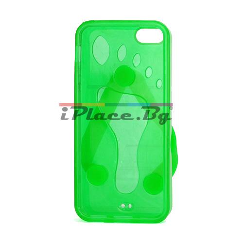 Силиконов, зелен калъф - джапанка за iPhone 5/5S/SE
