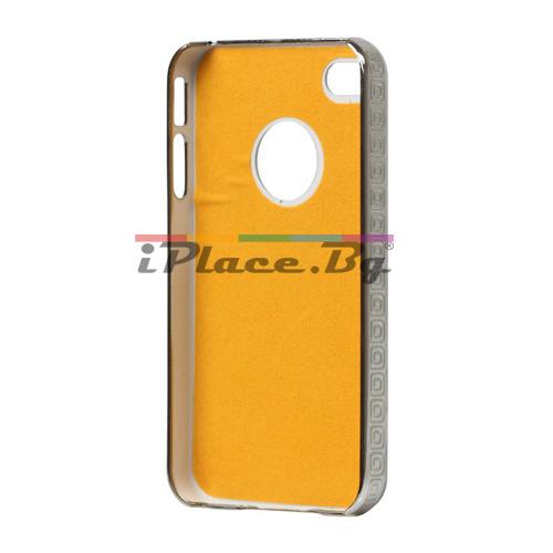Пластмасов, розов панел - решетка с камъни за iPhone 4/4S
