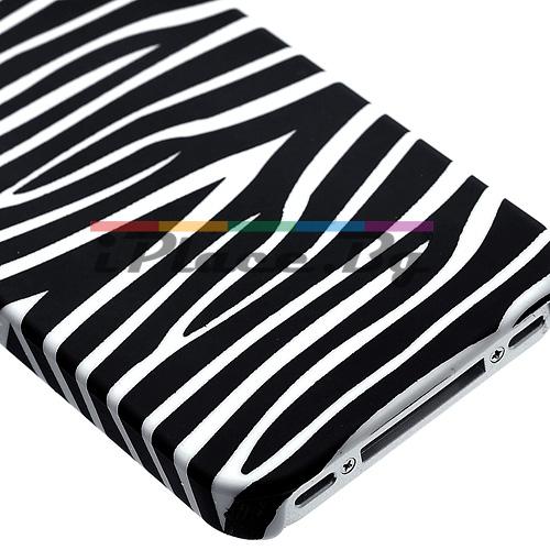 Пластмасов, черен панел - зебра за iPhone 4/4S
