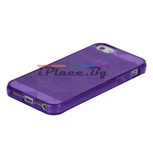 Силиконов, лилав калъф - карета за iPhone 5/5S/SE