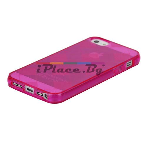Силиконов, розов калъф - карета за iPhone 5/5S/SE