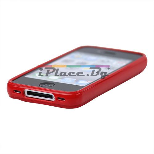 Силиконов, червен калъф - фигури за iPhone 4/4S