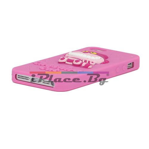 Силиконов, розов калъф - чеширски котарак за iPhone 5/5S/SE