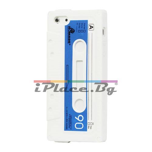 Силиконов, бял калъф - касета за iPhone 5/5S/SE