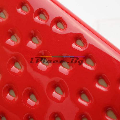Пластмасов, червен панел - ягода за iPhone 4/4S