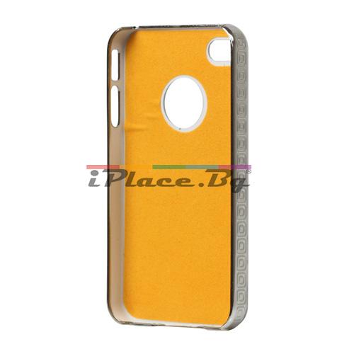 Пластмасов, червен панел - решетка с камъни за iPhone 4/4S