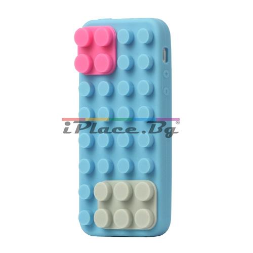 Силиконов, син калъф - блокчета за iPhone 5/5S/SE